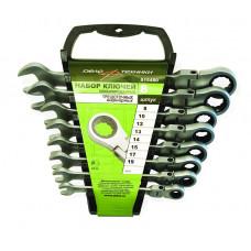 Набор ключей трещоточных  шарнирных  8 пр. 8-19 мм. холдер  ДТ 515480