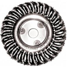 Щетка для УШМ крученая плоская с резьбой М22 175мм.  MATRIX 74636